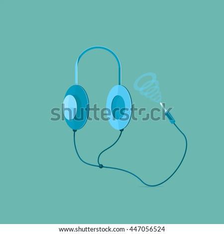 Headphone speakers cable plug - stock vector