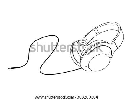 headphone vector outline - stock vector