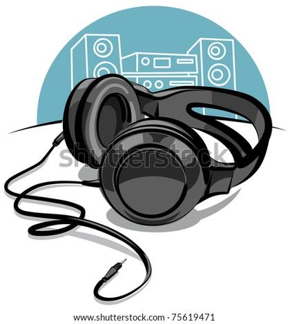 headphones - stock vector
