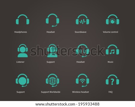 Headphones and headset icons. Vector illustration. - stock vector