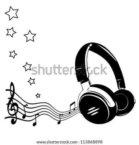 Headphones and notes - concept of a music - stock vector