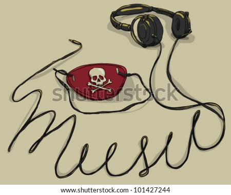 Headphones and pirate patch, concepts of music download and piracy - stock vector