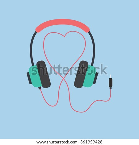headphones cord in shape of heart - stock vector
