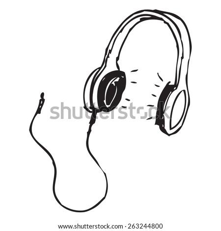Headphones doodle - stock vector