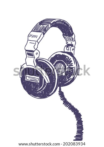 Headphones drawing isolated on white background - stock vector