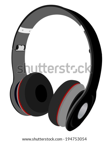 Headphones. EPS 10 vector sketch illustration without transparency and meshes.