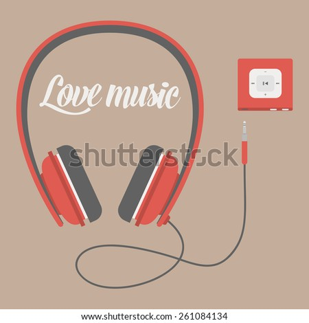 Headphones, flat icon isolated on a brown background. Sound concept background design layout for poster flyer cover brochure. Vecrot flat - stock vector