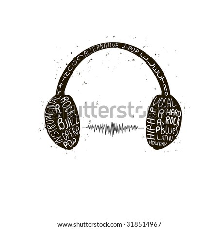 Headphones grunge style ink drawn on white background poster vector illustration