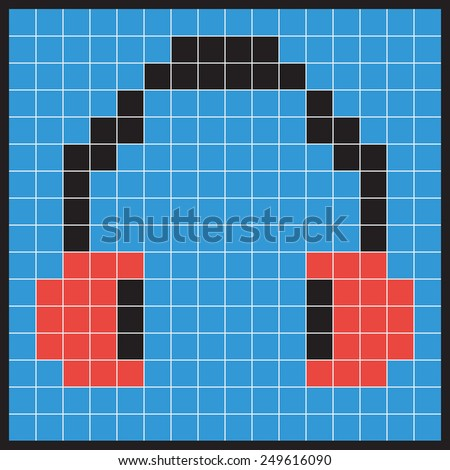 Headphones Icon, for Listening to Audio Signals Such as Music or Speech, Made of Squares, Pixels in the Form of Mosaics.Vector illustration - stock vector