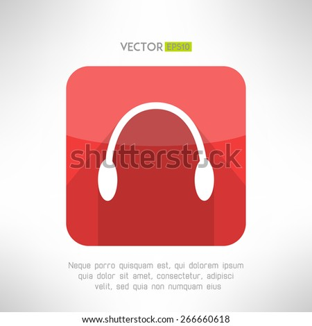 Headphones icon in modern flat design. Audio music symbol with long shadow. Vector illustration - stock vector