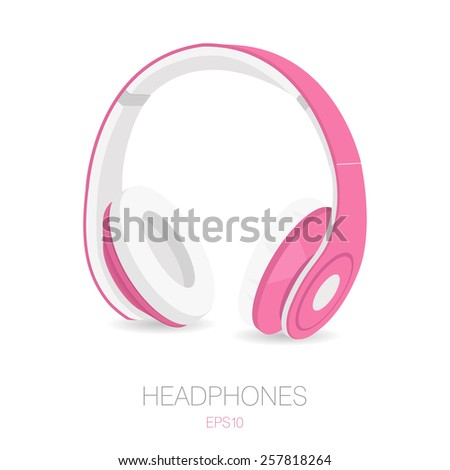 headphones icon in realistic style with line background - stock vector