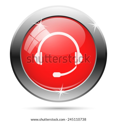 Headphones icon. Internet button on white background.