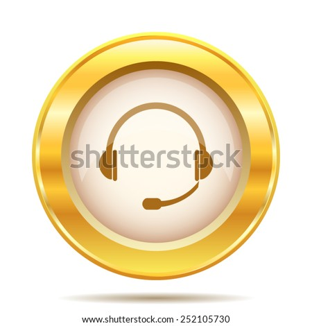 Headphones icon. Internet button on white background. EPS10 vector.  - stock vector