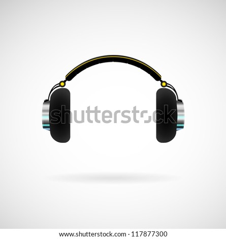 Headphones icon on bright background. Black headphones with yellow elements - stock vector