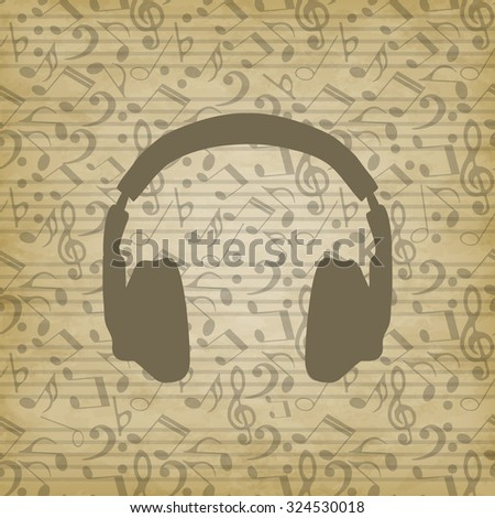 headphones icon on grunge background. Music background with notes. Vector illustration. The treble clef, the notes seamless pattern. EPS 10 - stock vector