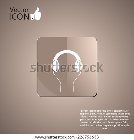 Headphones icon on the background. Made in vector