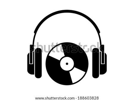 Headphones icon on white background - stock vector