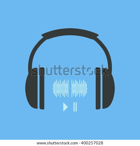 Headphones icon with sound waves and two buttons play and pause.  Vector illustration - stock vector