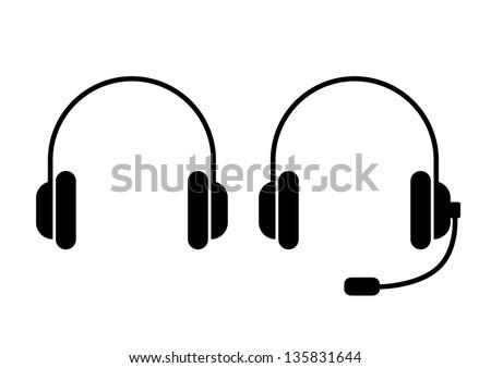 Headphones icons - stock vector