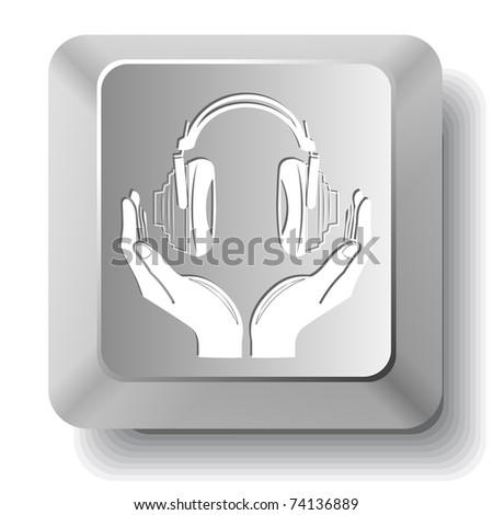 headphones in hands. Vector computer key. - stock vector