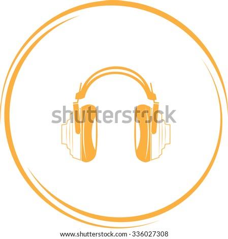 headphones. Internet button. Vector icon. - stock vector
