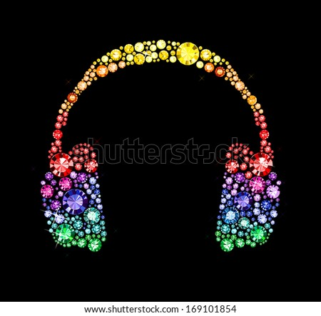 Headphones made of colored gems - stock vector