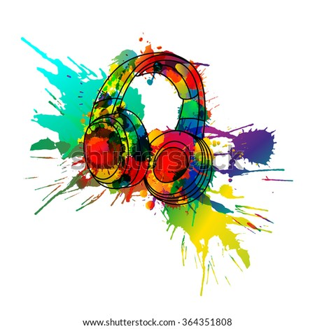 Headphones made of colorful splashes - stock vector
