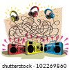 Headphones Maze Game task: Match each headphone (color) with tape recorder (color)! answer: 3 pairs; yellow to blue, red to yellow, blue to red. - stock photo