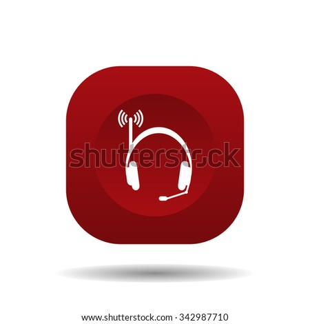 Headphones. Musical accessories running through wi-fi network. icon. vector design