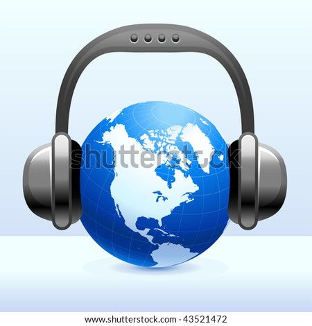 Headphones on Globe Original Vector Illustration Simple Image Illustration