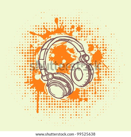 Headphones on grunge background - stock vector