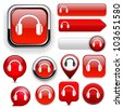 Headphones red design elements for website or app. Vector eps10. - stock photo