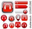 Headphones red design elements for website or app. Vector eps10. - stock