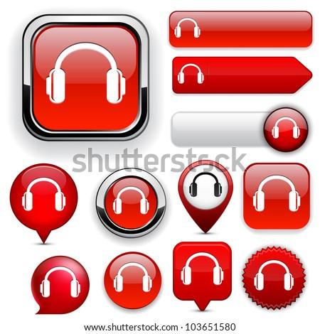 Headphones red design elements for website or app. Vector eps10. - stock vector