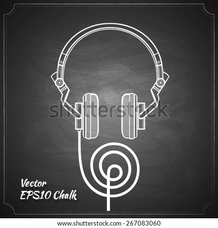 headphones sketch chalk painted on the chalkboard vector illustration - stock vector