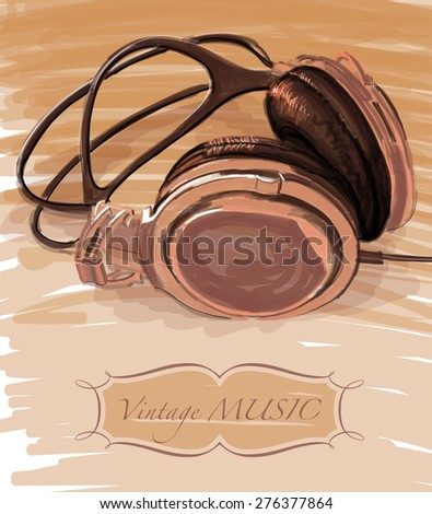 Headphones - vector drawing / eps10 - stock vector