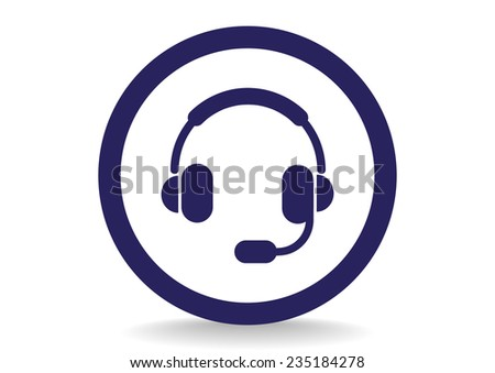 headphones, web icon. vector design - stock vector