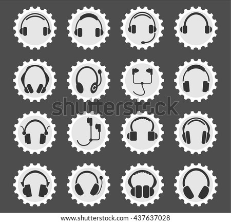 headphones web icons for user interface design - stock vector