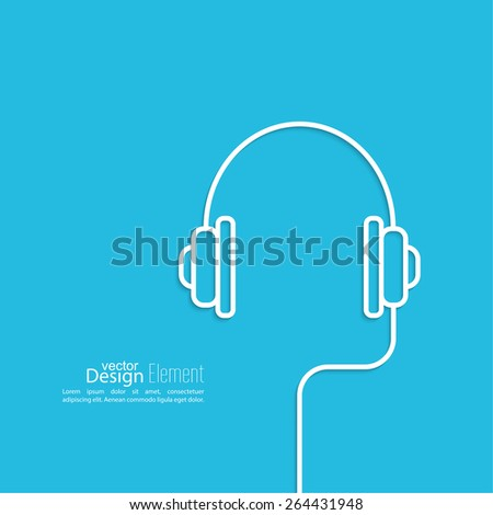 Headphones with a wire on a blue background. icon. minimal. Outline. Mobile and Web Applications - stock vector