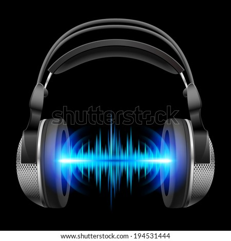 Headphones with blue sound waves. Illustration on black background  - stock vector