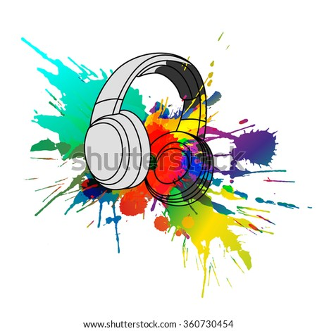 Headphones with colorful splashes - stock vector