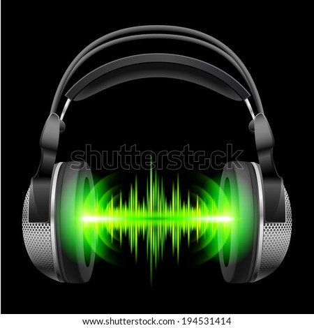 Headphones with green sound waves. Illustration on black background  - stock vector