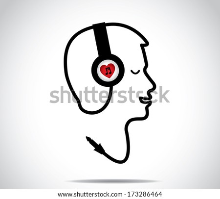 headphones with love music symbol and its chord shaped in the form of a young man listening to and enjoying musical songs with closed eyes : concept design vector illustration artwork - stock vector