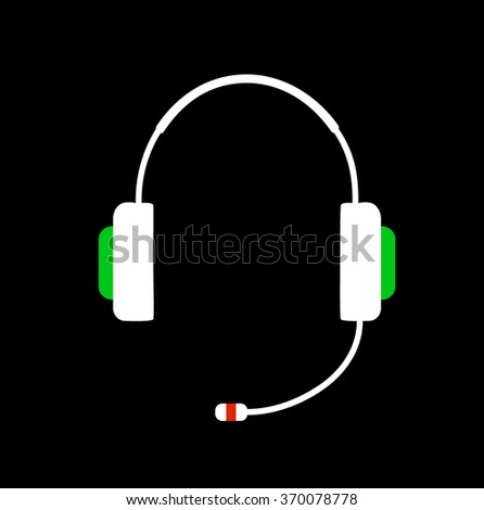 Headphones with microphone icon.Headset design on black background vector illustration