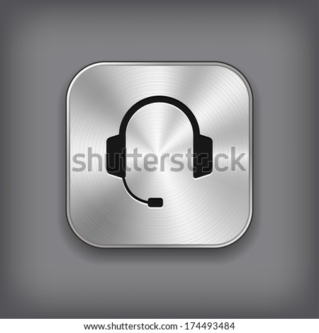 Headphones with microphone icon - vector metal app button with shadow - stock vector