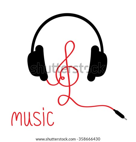 Headphones with treble clef red cord and word Music. Card. Flat design. White background. Vector illustration. - stock vector