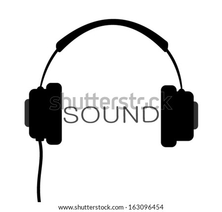 headphones with wire and word sound - stock vector