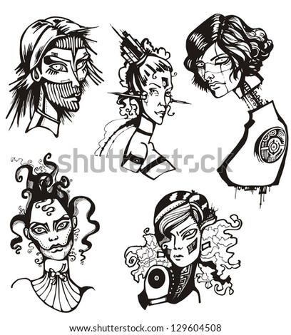 Heads of female cyborgs. Concept of biomechanical fiction.
