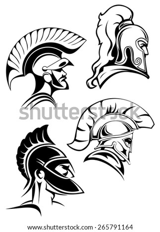 Heads of spartan warriors or gladiators wearing in traditional helmets with crests and mohawks or plumes in outline sketch style  - stock vector