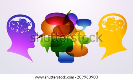 Heads, speech bubbles, colored set